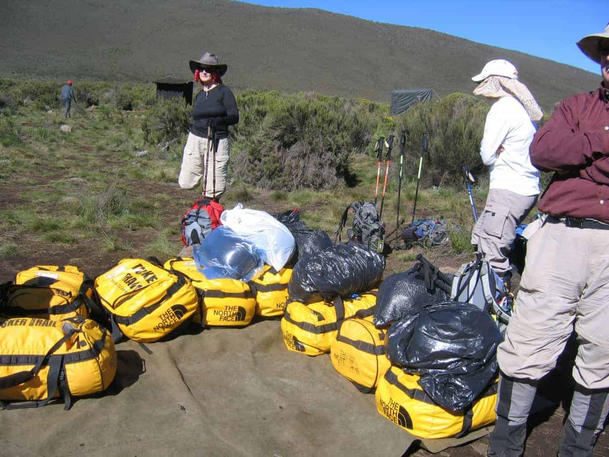 Our group's gear that the porters will carry up Kili