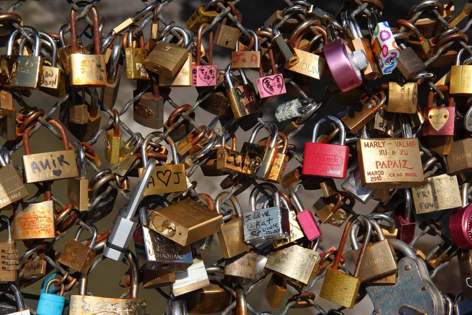 Lock for lovers on Paris bridge